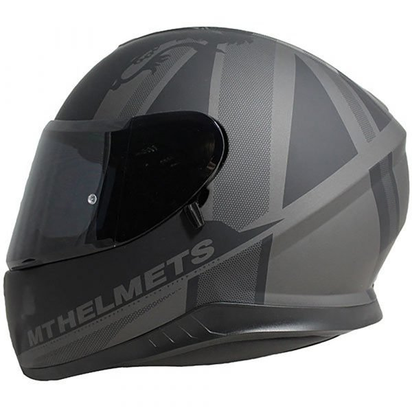 MT Thunder 3 Kingfom Helmet - Matt Black/Grey colour, UK