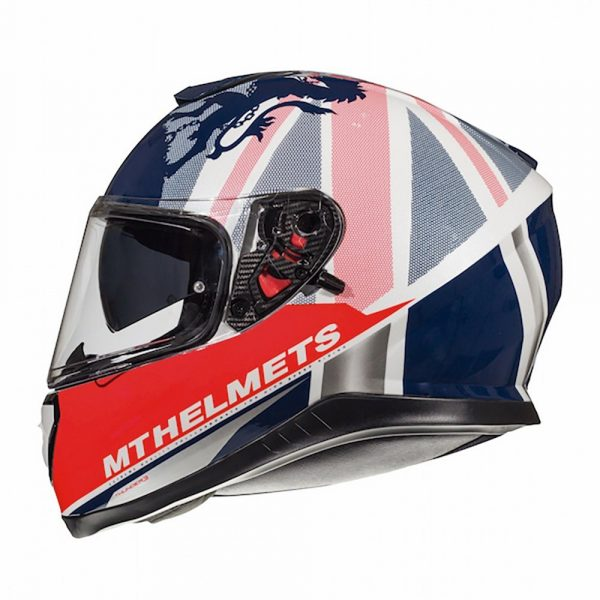 MT Thunder 3 Kingfom Helmet - White/Red/Blue colour, UK