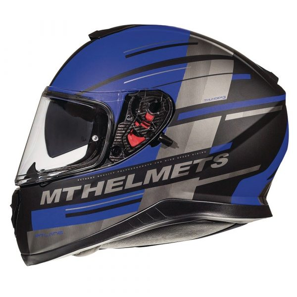 MT Thunder 3 Pitlane Helmet - Matt Black/Blue colour, London
