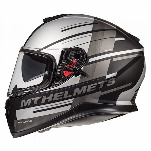 MT Thunder 3 Pitlane Helmet - Matt Black/Grey colour, MCS