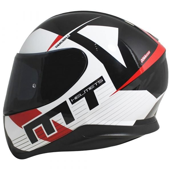 MT Thunder 3 Ray Helmet - Black/White/Red colour, UK