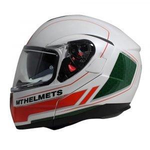 MT Atom Raceline Evo Helmet - White/Red/Green - MCS, Chelsea, UK