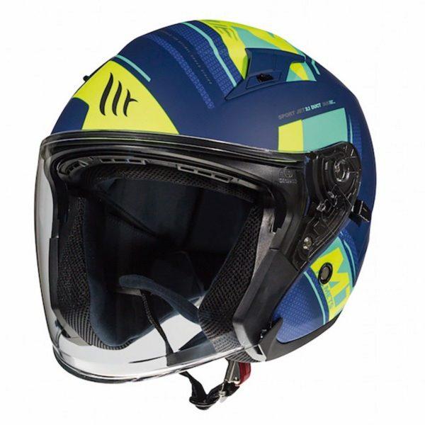 MT Avenue Sideway Helmet - Matt Blue/Green/Fluo Yellow - UK