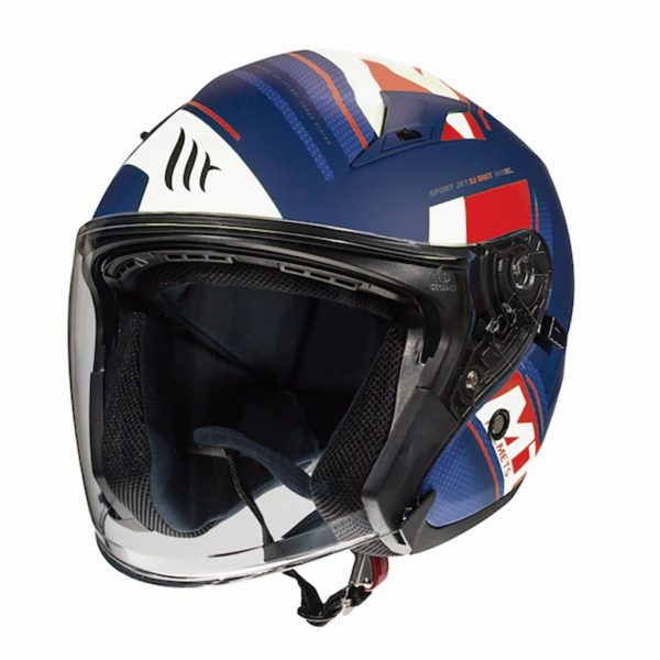 MT Avenue Sideway Helmet - Matt Blue/Red/White colour, UK