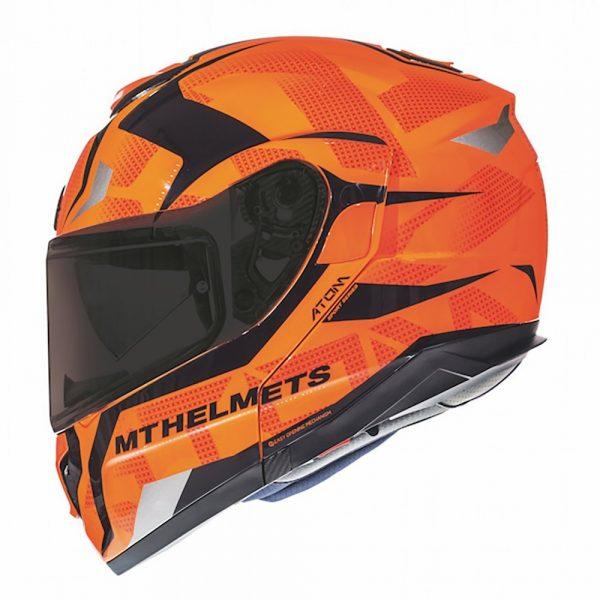 MT Atom SV Divergence G1 Helmet - Gloss Fluorescent Orange colour, Motorbike Clothing Shop, UK