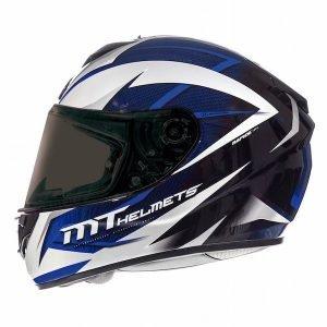 MT Rapide Crucial Helmet - Pearl White/Blue colour, Chelsea