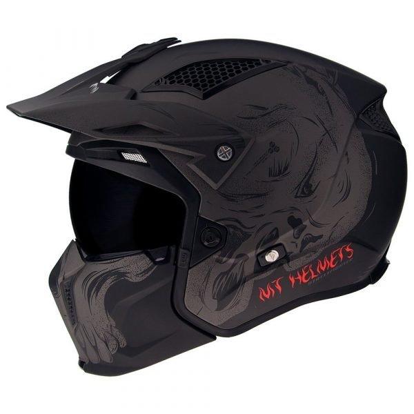 MT Streetfighter Darkness Helmet 2021 - Matt Black/Grey colour, Chelsea