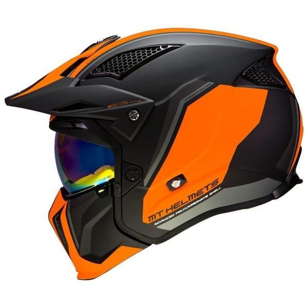 MT Streetfighter Twin Helmet 2021 - Matt Black/Fluo Orange, CMG Shop, London
