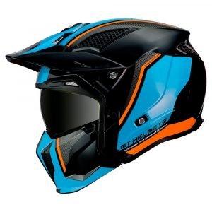 MT Streetfighter Twin Helmet 2021 - Black/Blue/Orange, MCS, Chelsea, UK