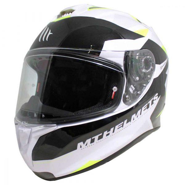 MT Targo Enjoy Helmet - Pearl White/Black/Fluo Yellow colour, UK