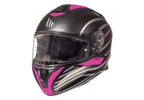 MT Targo Doppler Helmet - Matt Black/Pink colour, London
