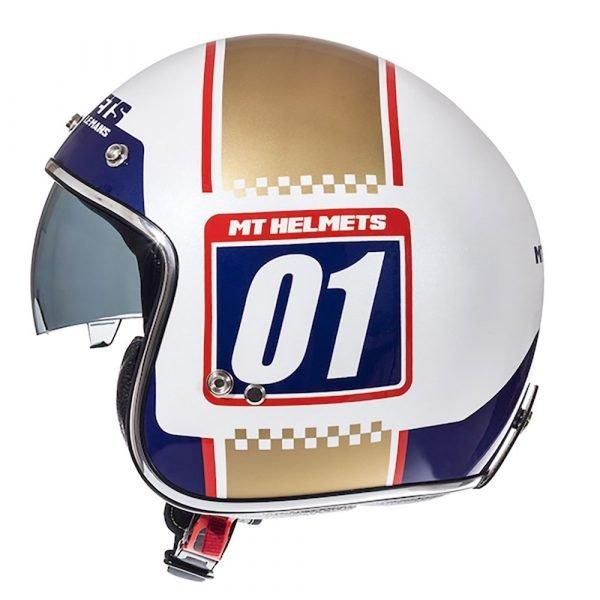 MT Le Mans 2 Number Plate Helmet - White/Blue/Gold colour, UK