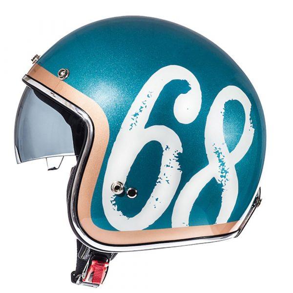MT Le Mans 2 SV Hipster Helmet - Green/Orange/White colour, UK