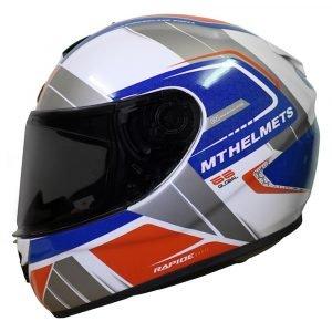 MT Rapide Global Helmet - White/Blue/Red colour, Chelsea Clothing