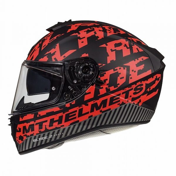 MT Blade 2 Check Helmet - Matt Black/Red colour, Chelsea
