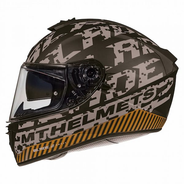 MT Blade 2 Check Helmet - Matt Grey/Orange colour
