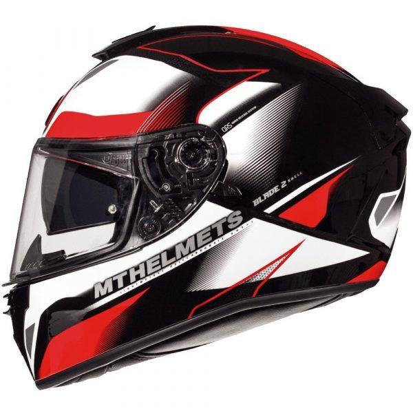 MT Blade 2 Fugue Helmet - Pearl White/Red colour, MCS