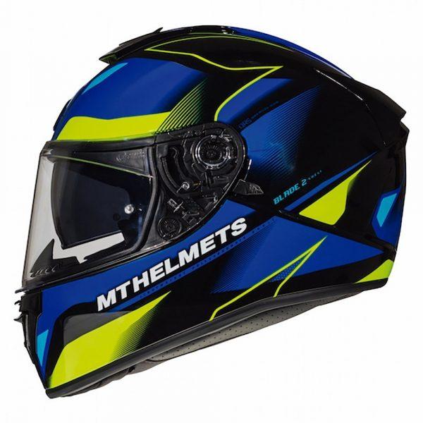MT Blade 2 Helmet - Blue/Fluo Yellow colour - Chelsea Motorcycles Store, UK