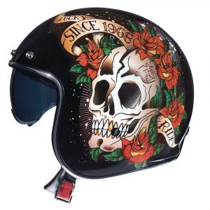 MT Le-Mans 2 Skull & Roses Helmet 2021 - Black/Red colour, Chelsea