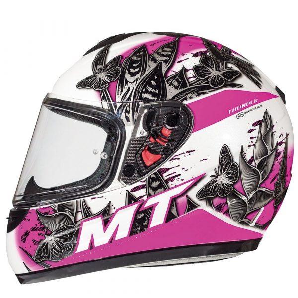 MT Thunder Breeze Kids Helmet - Pearl White/Pink colour, MCS, UK