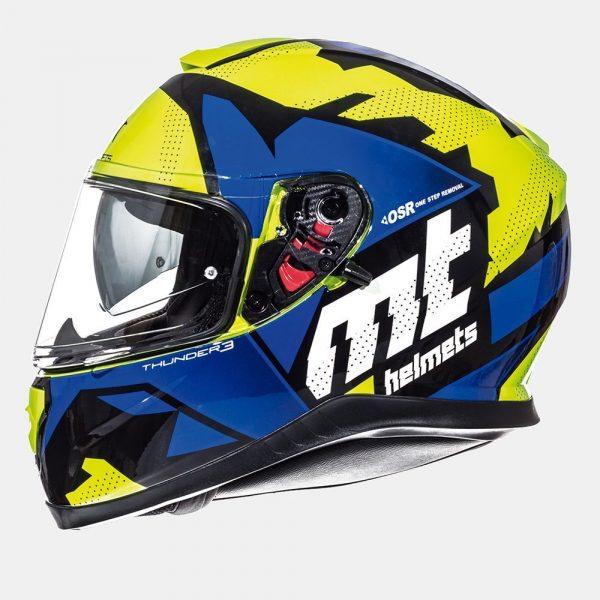 MT Thunder Torn Kids Helmet - Fluo Yellow/Blue colour, Chelsea, UK