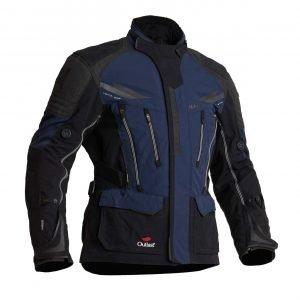 Halvarssons Mora Textile Jacket - Black/Blue colour, front view, Motorcycles Clothing Shop, London