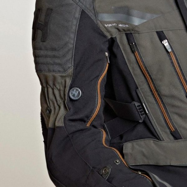 Halvarssons Mora Textile Jacket - Black/green colour, close view
