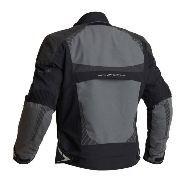 Halvarssons Vansbro Textile Jacket - Black/Grey colour, back view, UK