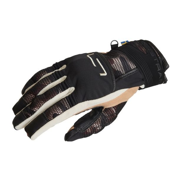 Lindstrands Nyhusen Gloves - Black/Khaki colour, Chelsea Motorcycles Clothing Shop