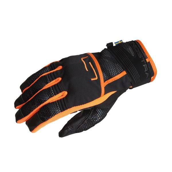 Lindstrands Nyhusen Gloves - Black/Orange colour, Motorcycle Clothing Shop, UK