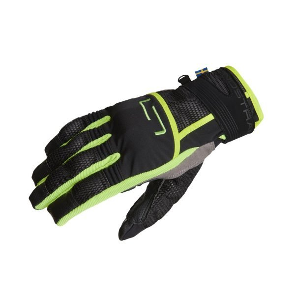Lindstrands Nyhusen Gloves - Black/Yellow colour, Motorcycles Clothing Shop, UK