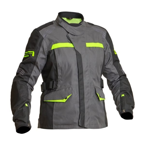Lindstrands Granberg Women Textile Jacket - Grey/Yellow colour, Motorcycles Clothing Shop, London