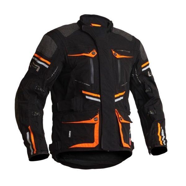 Lindstrands Sunne Textile Jacket - Black/Orange colour, Motorcycles Clothing Shop, UK