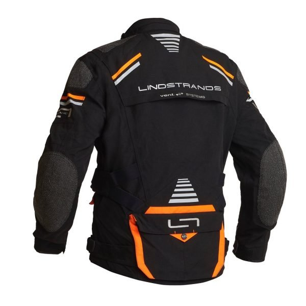 Lindstrands Sunne Textile Jacket - Black/Orange colour, back, MCS