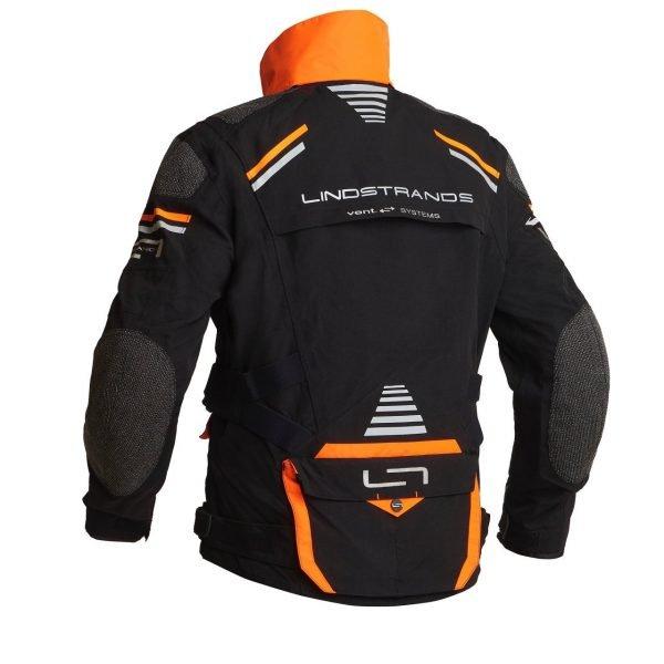 Lindstrands Sunne Textile Jacket - Black/Orange colour with collar, back view