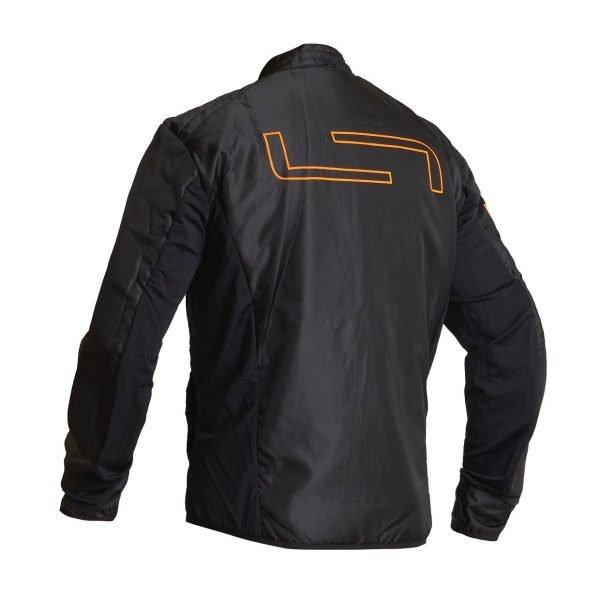Lindstrands Sunne Textile Jacket - Black/Orange colour lining, back view