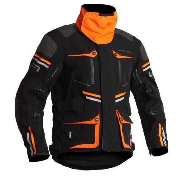 Lindstrands Sunne Textile Jacket - Black/Orange colour with collar
