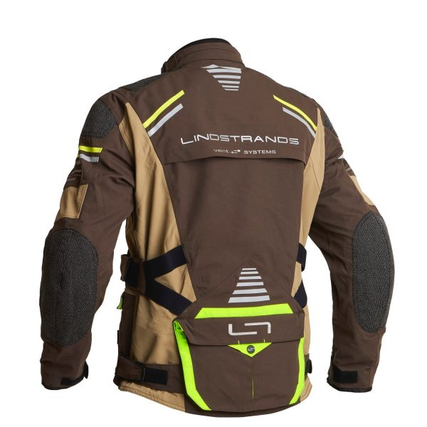 Lindstrands Sunne Textile Jacket - Brown/Yellow colour with collar, back view, Motorcycles Clothing Shop Chelsea