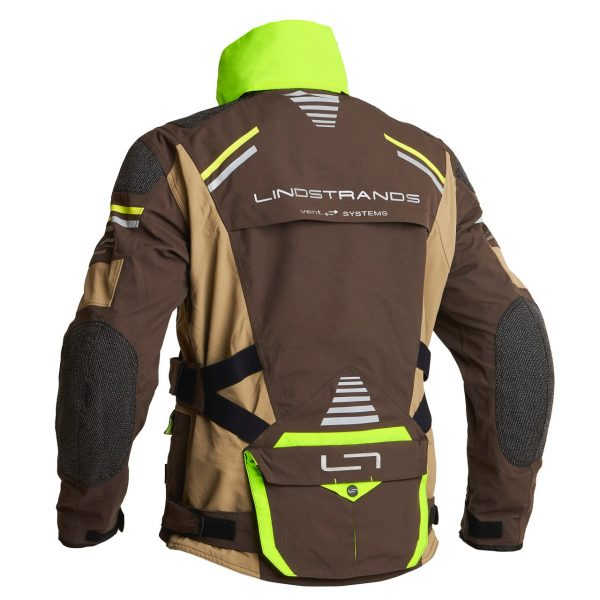 Lindstrands Sunne Textile Jacket - Brown/Yellow colour with collar, back view