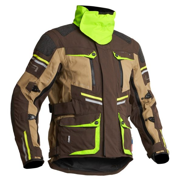 Lindstrands Sunne Textile Jacket - Brown/Yellow colour with collar