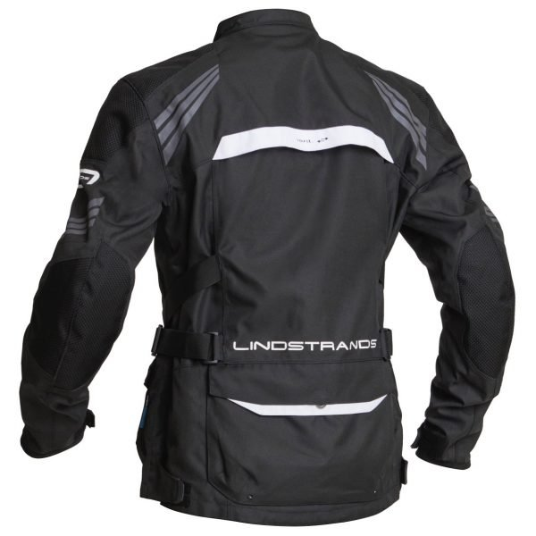 Lindstrands Transtrand Textile Jacket - Black/White colour, back view, Motorcycles Clothing Shop, London