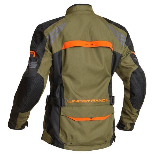 Lindstrands Transtrand Textile Jacket - Green/Orange colour, back view, London, UK
