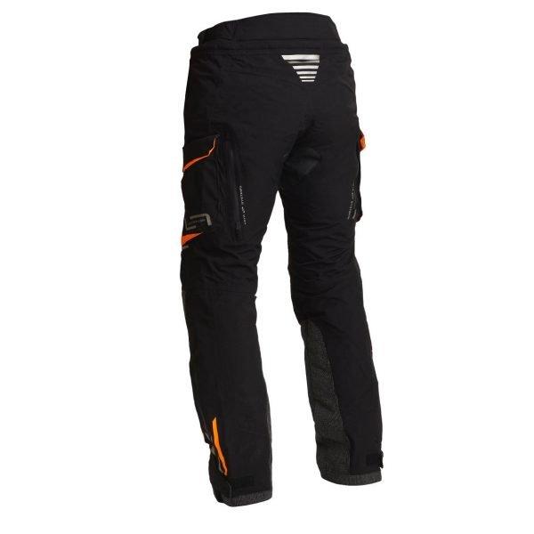 Lindstrands Sunne Textile Pants - Black/Orange colour, back view, Motorbike Clothing Shop, UK