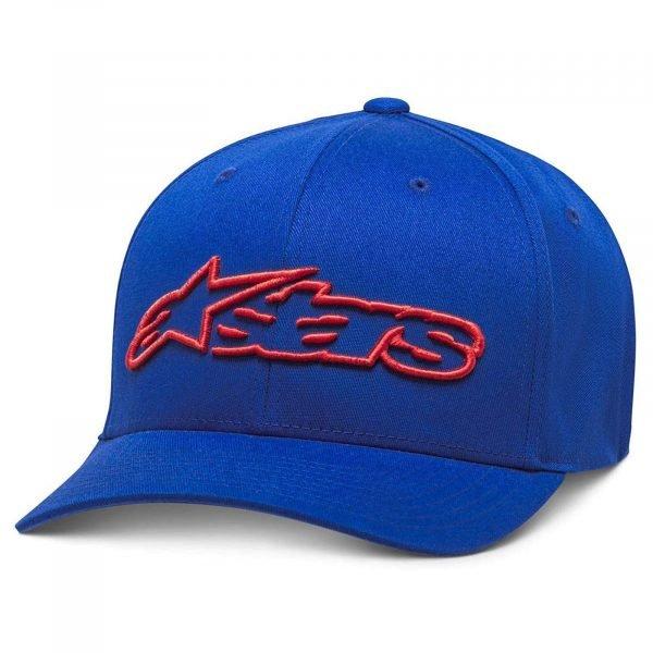 Alpinestars Blaze Flexfit Hat - Blue/Red colour, Motorbike Clothing Shop