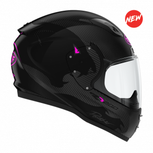 Roof RO200 Carbon Helmet - Panther Black/Fluo Pink colour