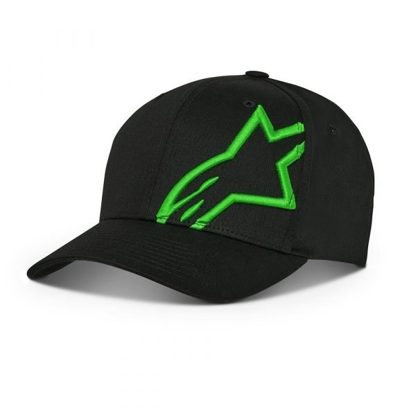 Alpinestars Corp Snap 2 Hat - Black/Green colour, Motorcycles Clothing Shop