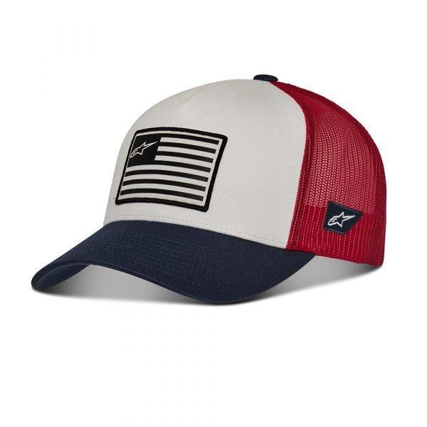 Alpinestars Flag Snapback Hat - White/Navy/Red colour, MCS