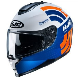 HJC C70 Curves Helmet - White/Red/Blue Colour, Motorcycles/Scooter Clothing Shop