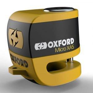 Oxford Micro XD5 Disc Lock - Yellow/Black colour
